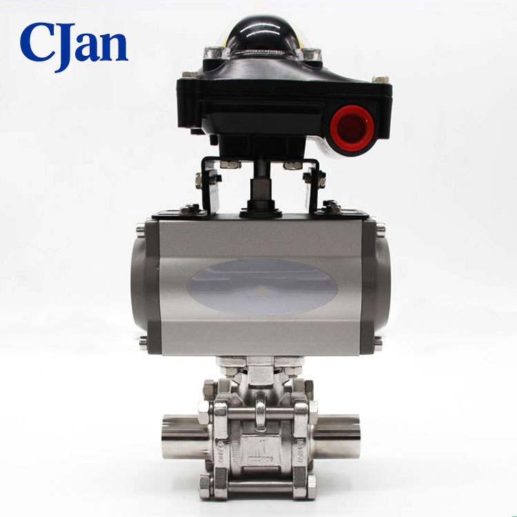 Sanitary Intelligent Control Pneumatic 3pc Package Ball Valve
