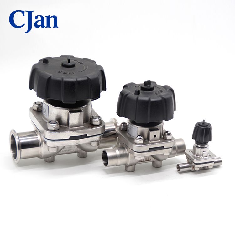 Sanitary Stainless Steel Manual Diaphragm Valve With Tri-clamp and Plastic Handwheel