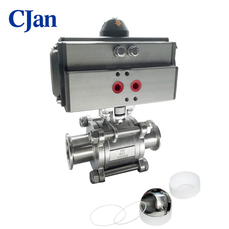 Sanitary Stainless Steel Pneumatic 3 pc Ball Valve