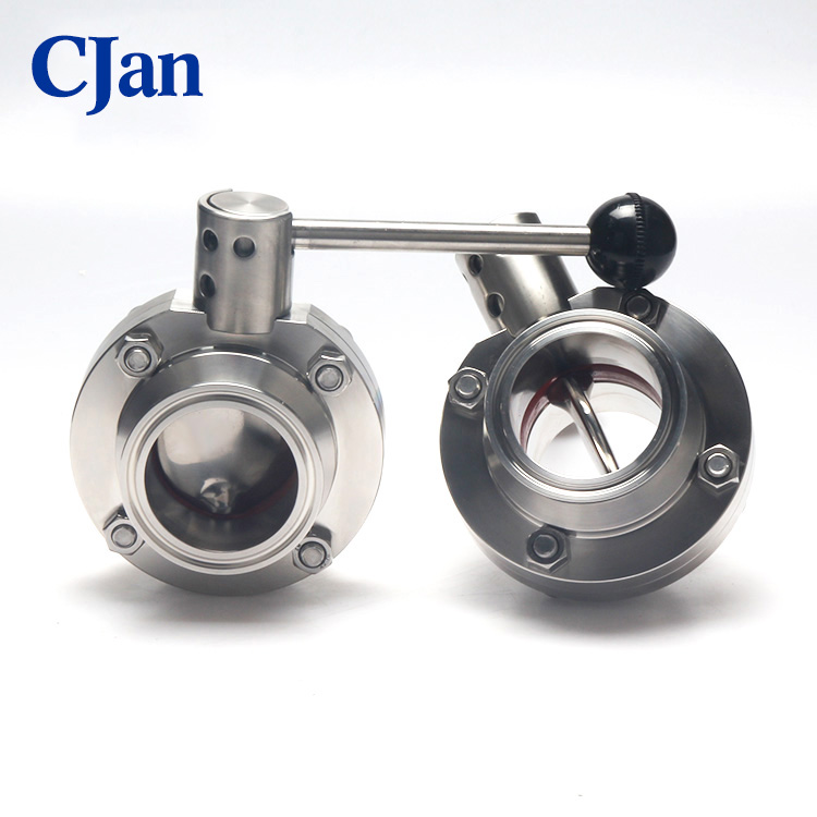 Sanitary Stainless Steel Tri Clamp Adaptor Butterfly Valve For Food Milk