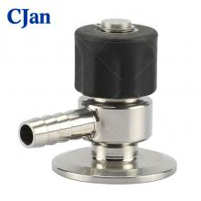 Sanitary Stainless Steel Manual Sample Valve With Black plastic handle